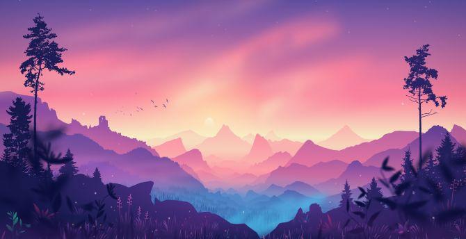 Desktop wallpaper digital art, horizon, mountains, forest, pinkish ...