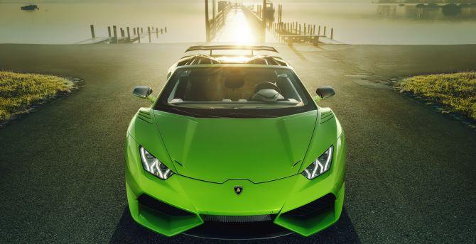 Lamborghini huracan green sports car
