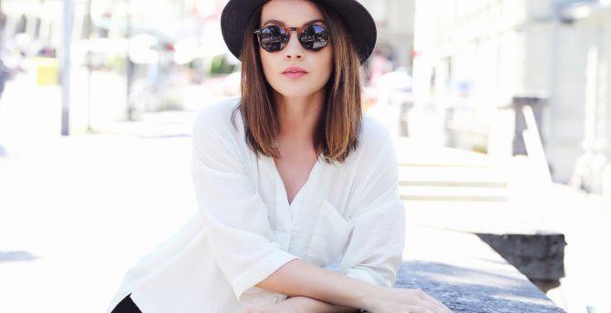 Brunette, model, sunglasses wallpaper