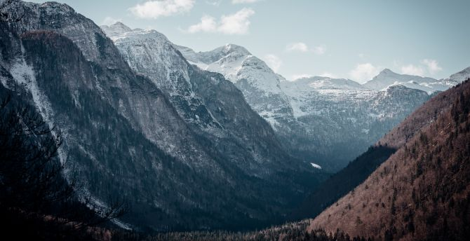 Mountains, peaks, valley, nature wallpaper