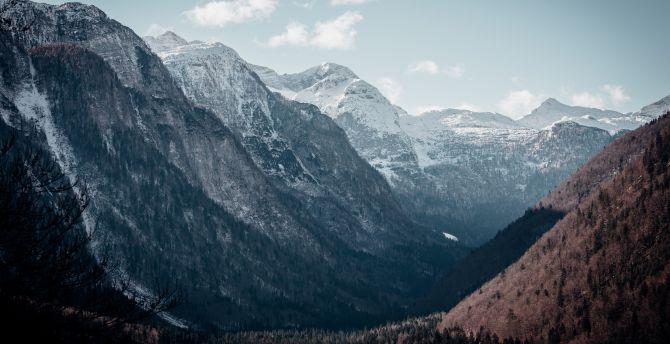 Mountain peaks valley 4k