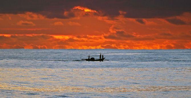 Sunset Clouds Fishing Sea Sky Skyline Wallpaper