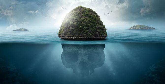 Desktop wallpaper sea island fantasy skull hd image picture sea island fantasy skull wallpaper voltagebd Gallery