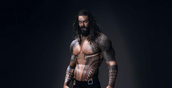 Desktop Wallpaper Aquaman Jason Momoa Tattoo Hd Image