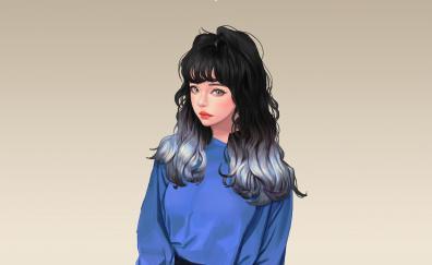 Woman artwork dark hair