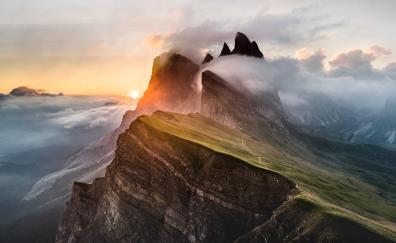 Dolomites mountains, clouds, nature, Italy