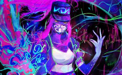 Akali, League of Legends, neon, art