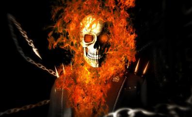 Skull and fire, Ghost Rider, superhero