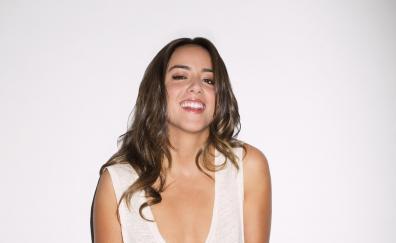 Brunette, actress, Chloe Bennet, smile