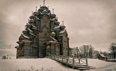 Church building architecture winter