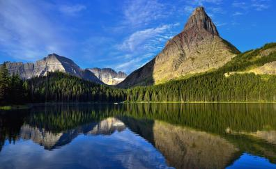 Mountains, forest, lake, reflections, nature