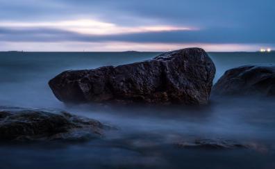 Evening, mist, coast, rocks, nature