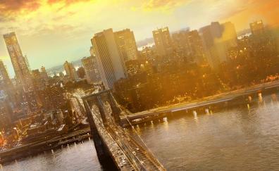 Brooklyn bridge cityscape sunset new york