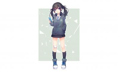 Two ponytails listening songs anime girl school dress orginal
