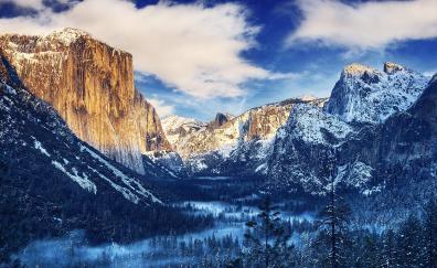 Winter yosemite valley nature 4k