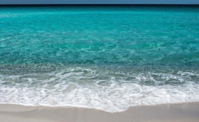 Beach, soft, sea waves, blue sea