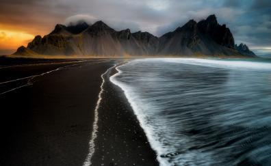 Dark beach sea waves nature