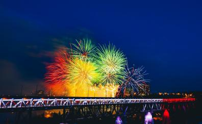 Fireworks bridge holiday colorful