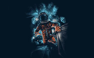 Space, astronaut, galaxy, dark, artwork