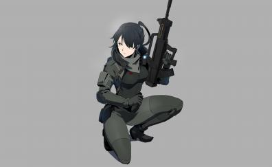 Woman soldier armored gull