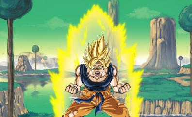 Angry goku anime boy super saiyan
