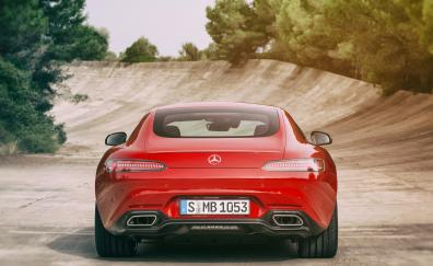 Red mercedes amg gt s 2017 rear