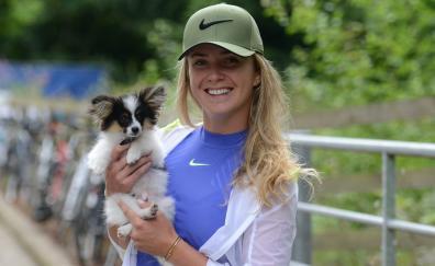 Elina Svitolina and puppy, beautiful, smile