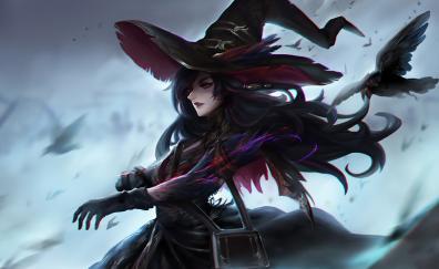 Dark witch crow raven