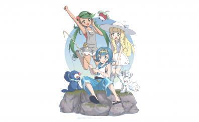 Pokémon, fun, fishing, anime girls, minimal