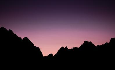Purple sky, sunset, mountains, silhouette