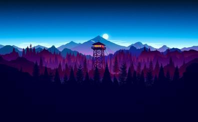 Firewatch game sunset artwork