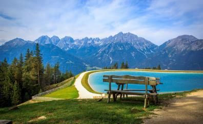 Lake mountains nature bench