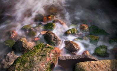 Outdoor, rocks, water, moss