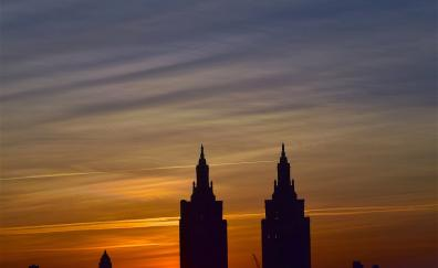 Buildings cityscape sunset