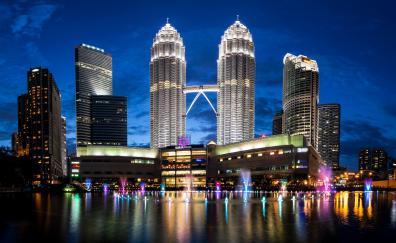 Petronas towers malaysia skyline night 4k