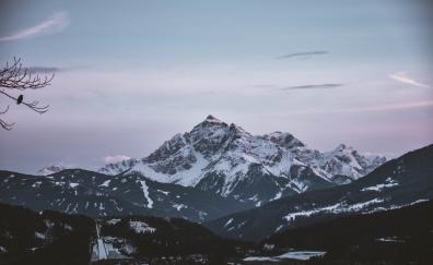 Dawn mountains sky