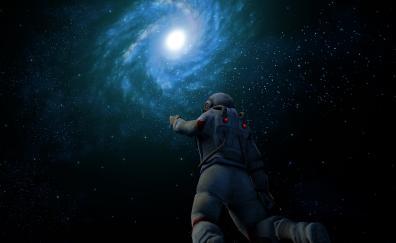 Astronaut, spiral galaxy, nebula, cosmos universe, dark