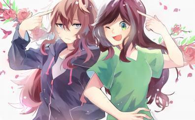 Two crazy girls, fun, anime