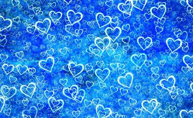 Hearts, abstract, blue