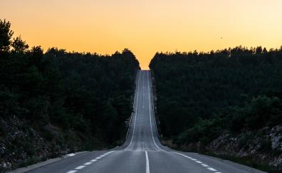 Road, journey, sunset, France