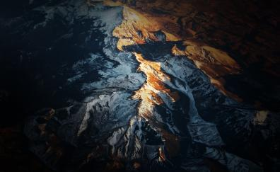 Mountains, aerial view, landscape, range