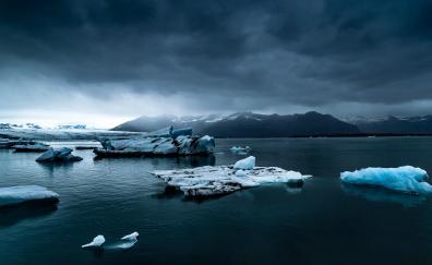 Iceland, sea, glacier, snow