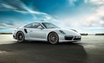 White, Porsche 911 Turbo, side view