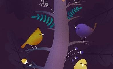 Birds, tree, colorful, art