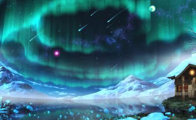 Aurora borealis anime original artwork