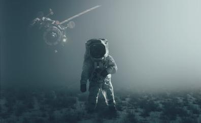 Astronaut satellite landscape 5k