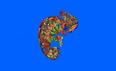 Colorful, artwork, Chameleon