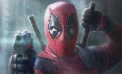 Deadpool pointing gun artwork