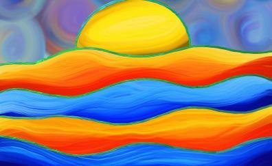 Digital art, waves, abstract