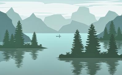 Lake mountains digital art